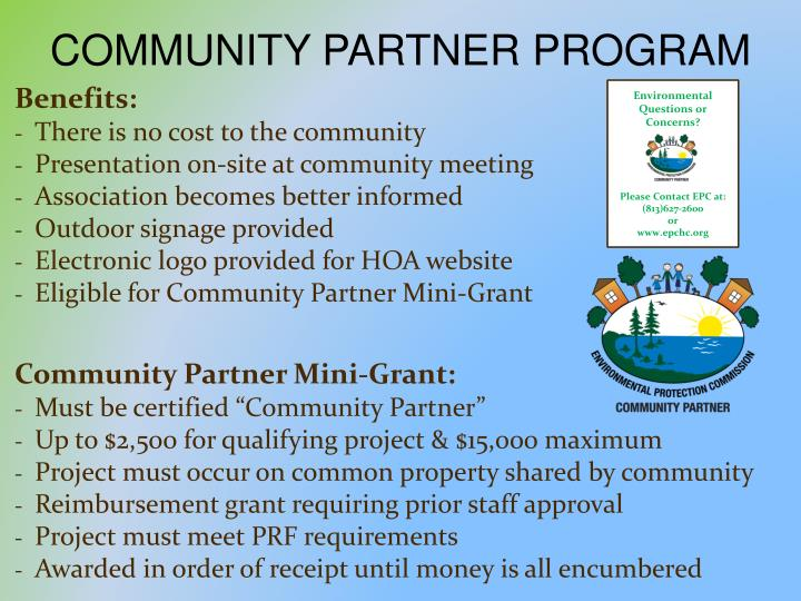 COMMUNITY PARTNER PROGRAM