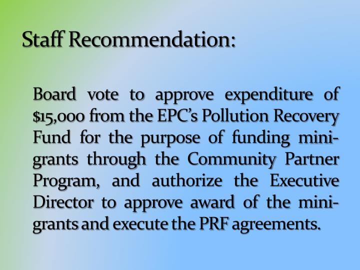Staff Recommendation: