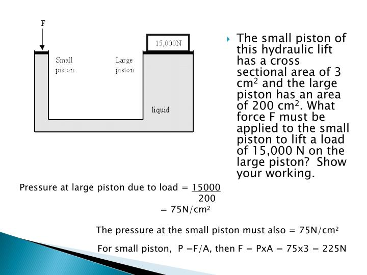 The small piston of this hydraulic lift has a cross sectional area of 3 cm