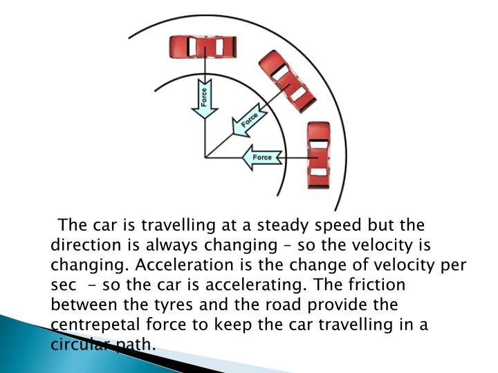 The car is travelling at a steady speed but the direction is always changing – so the velocity is changing. Acceleration is the change of velocity per sec  - so the car is accelerating. The friction between the tyres and the road provide the centrepetal force to keep the car travelling in a circular path.
