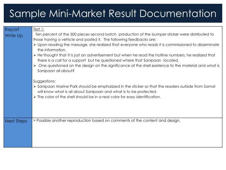 Sample Mini-Market Result Documentation