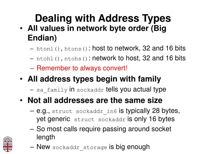 Dealing with Address Types