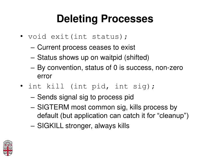 Deleting Processes