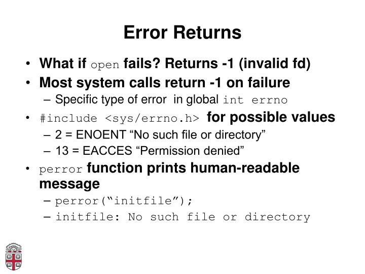 Error Returns