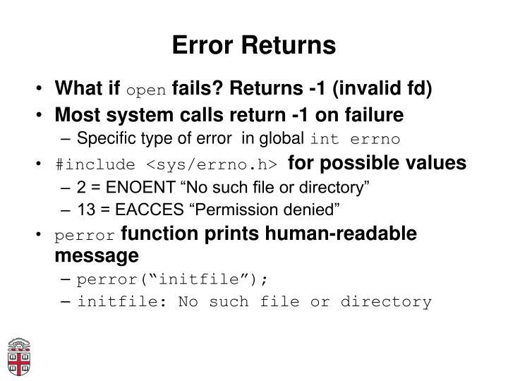 Error Returns