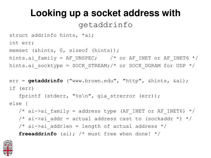 Looking up a socket address