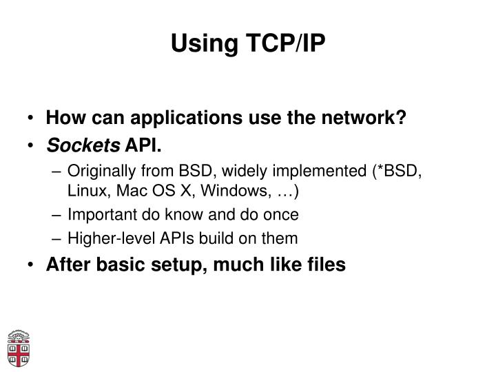 Using TCP/IP