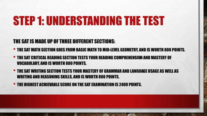 Step 1 understanding the test