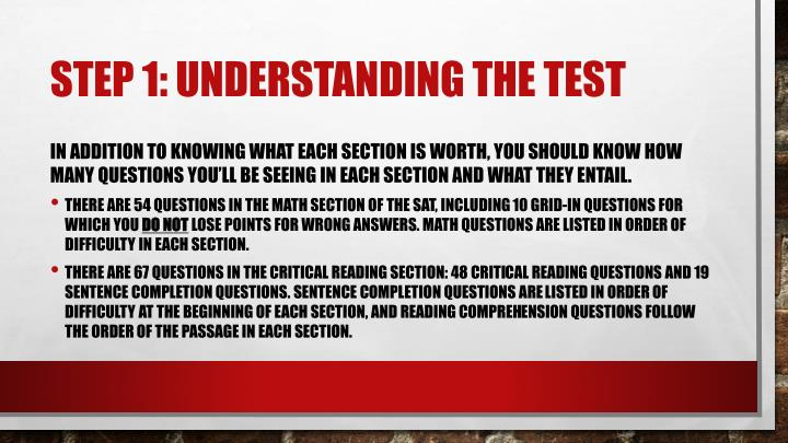 Step 1 understanding the test1