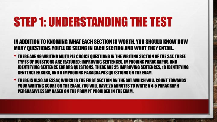 Step 1: understanding the test
