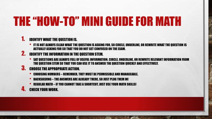 "The ""how-to"" mini guide for math"