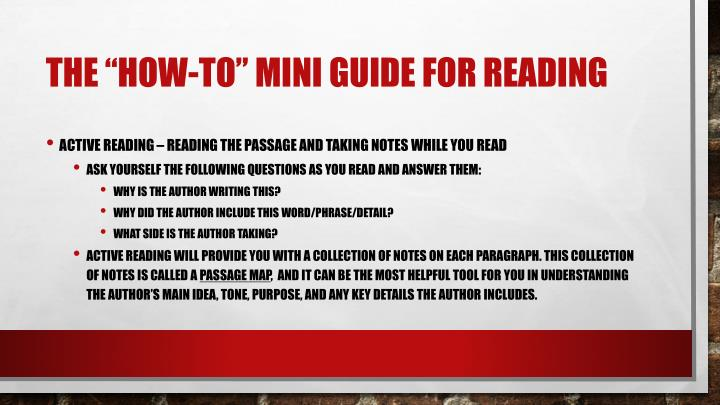 "The ""how-to"" mini guide for reading"