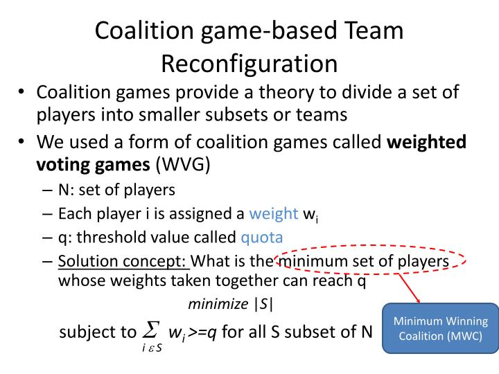Coalition game-based Team Reconfiguration