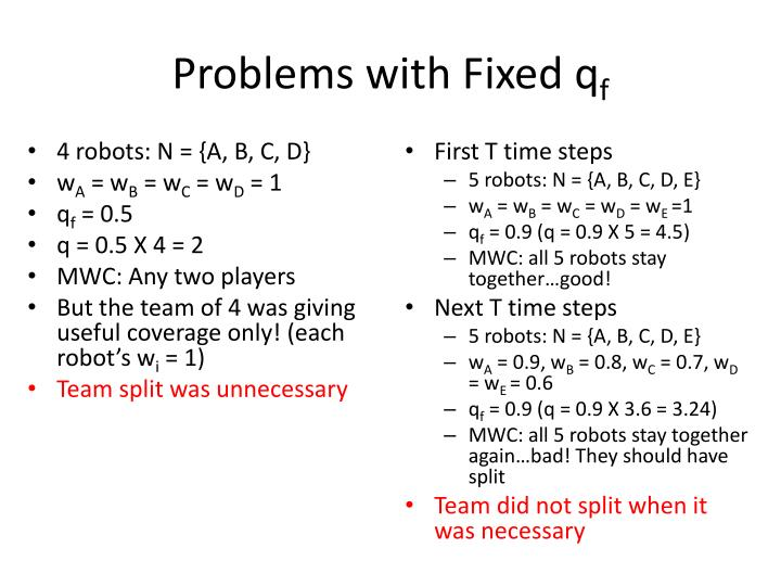 Problems with Fixed
