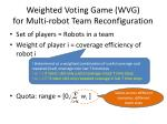 weighted voting game wvg for multi robot team reconfiguration1