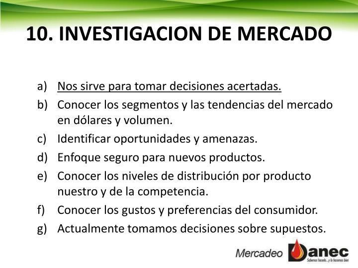 10. INVESTIGACION DE MERCADO