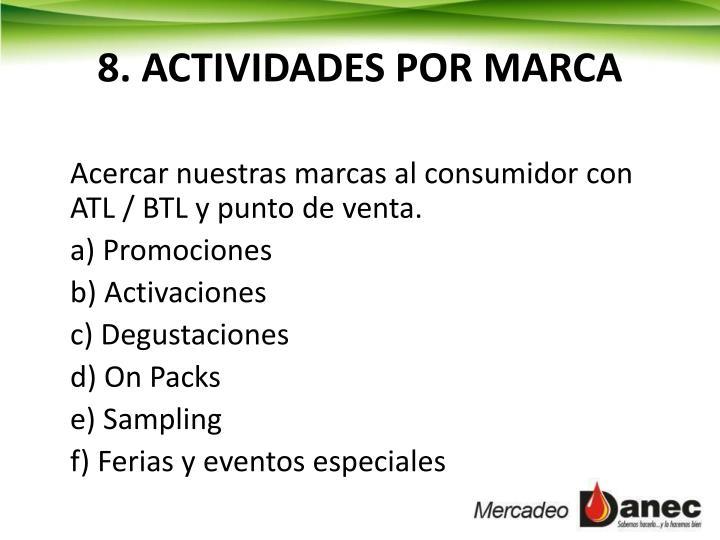 8. ACTIVIDADES POR MARCA