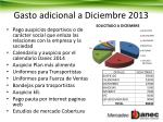 gasto adicional a diciembre 2013