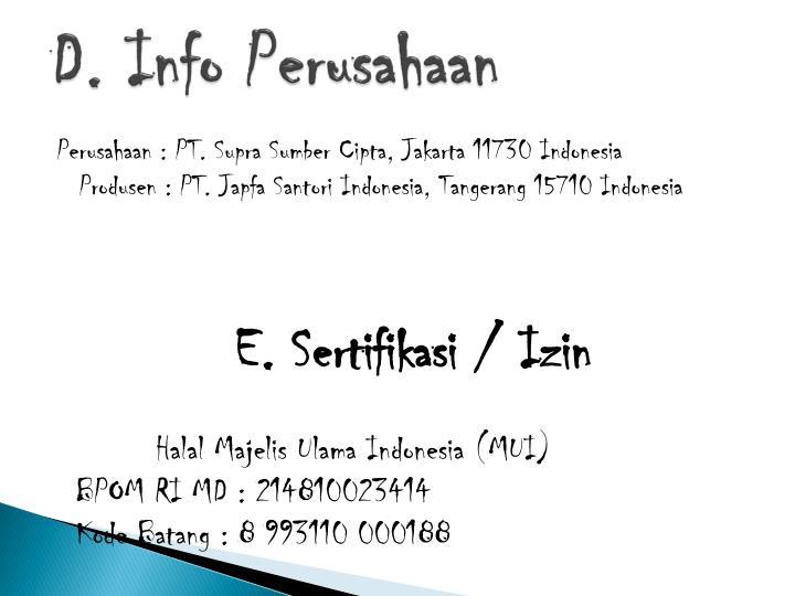 D. Info Perusahaan