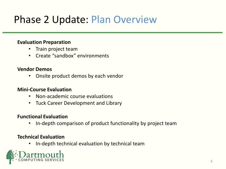 Phase 2 update plan overview1
