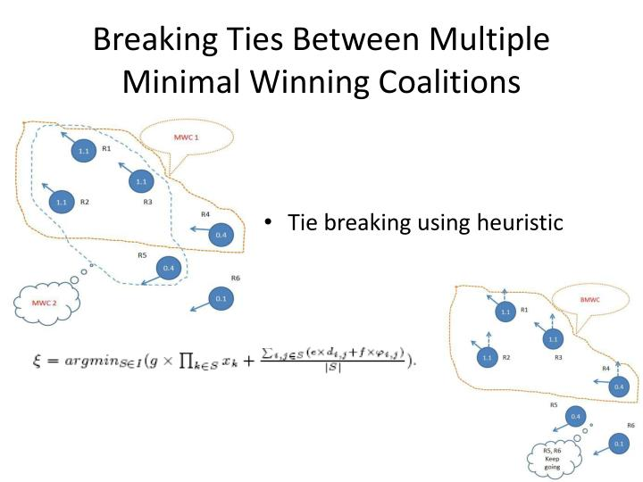 Breaking Ties Between Multiple Minimal Winning Coalitions