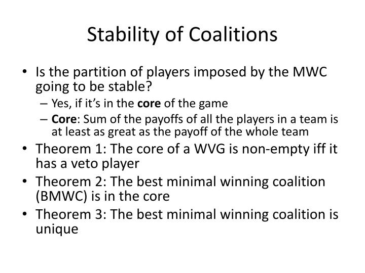 Stability of Coalitions
