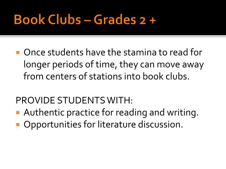 Book Clubs – Grades 2 +