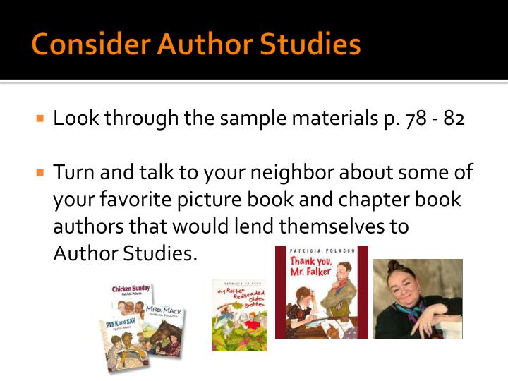 Consider Author Studies