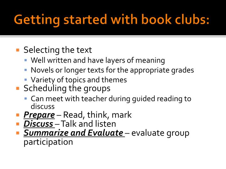 Getting started with book clubs: