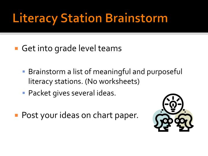 Literacy Station Brainstorm
