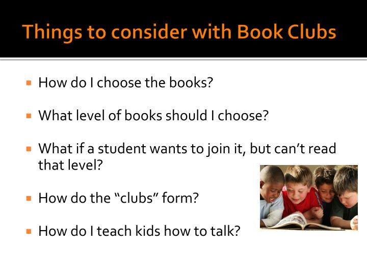 Things to consider with Book Clubs