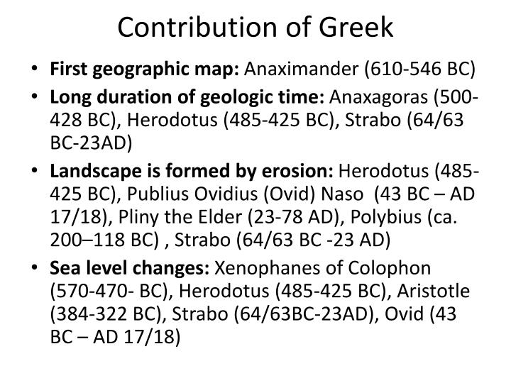 Contribution of Greek