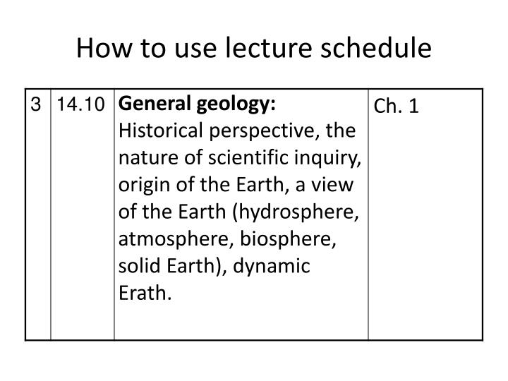 How to use lecture schedule