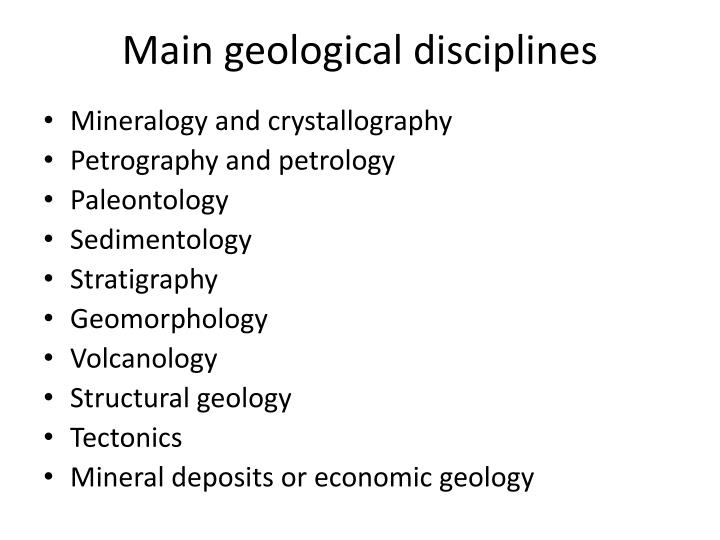 Main geological disciplines