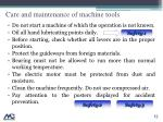 care and maintenance of machine tools1