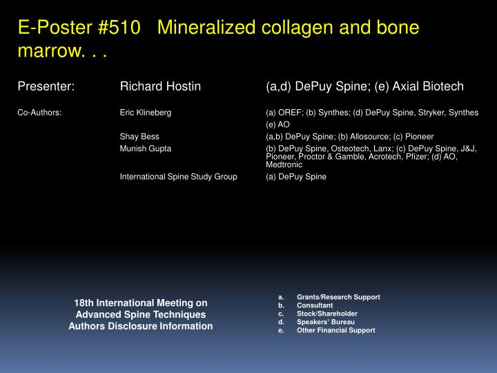 E-Poster #510   Mineralized collagen and bone marrow. . .