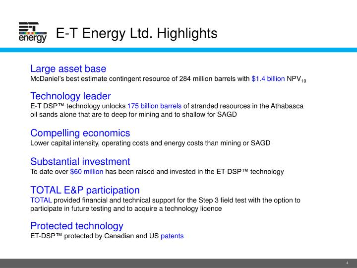 E-T Energy Ltd. Highlights