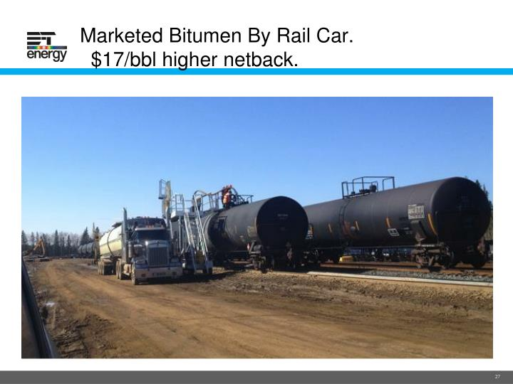 Marketed Bitumen By Rail Car.