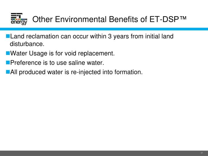 Other Environmental Benefits of ET-DSP™