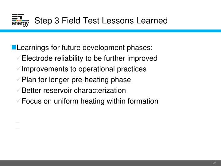 Step 3 Field Test Lessons Learned