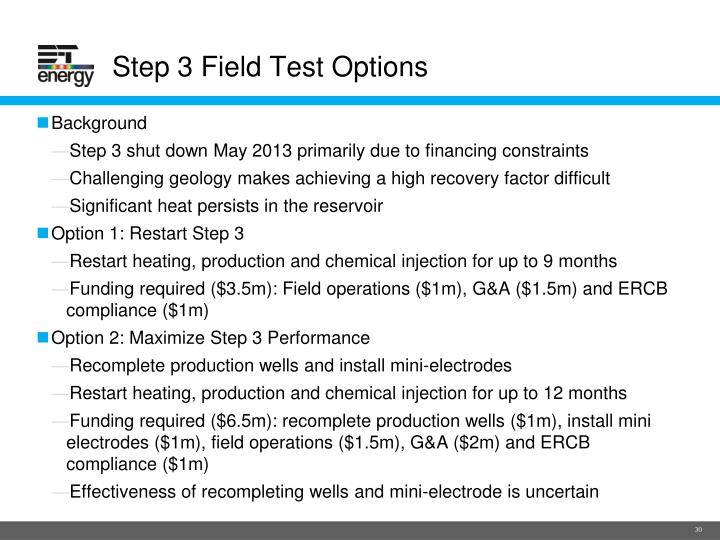 Step 3 Field Test Options