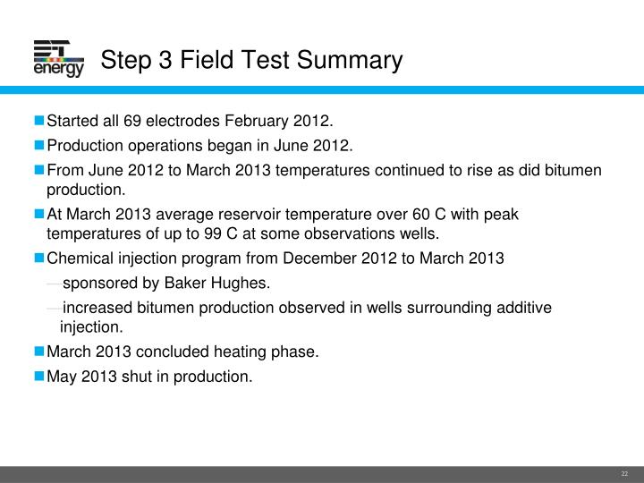 Step 3 Field Test Summary