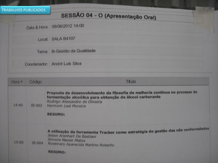 TRABALHOS PUBLICADOS