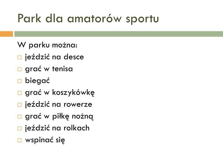 Park dla amatorów sportu