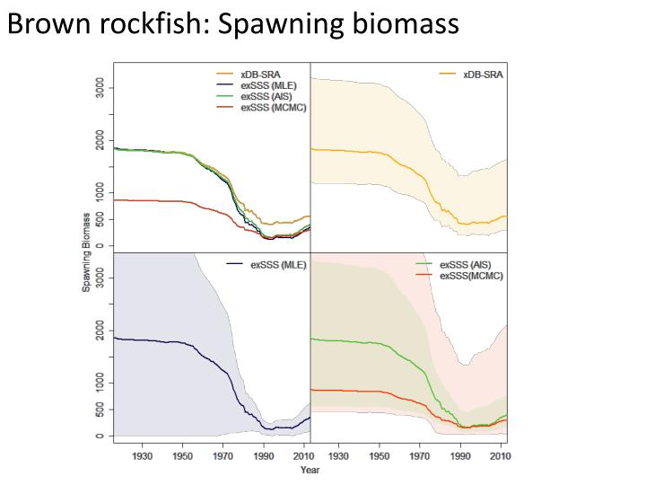 Brown rockfish: Spawning biomass