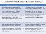 ssc recommendations and actions taken cont