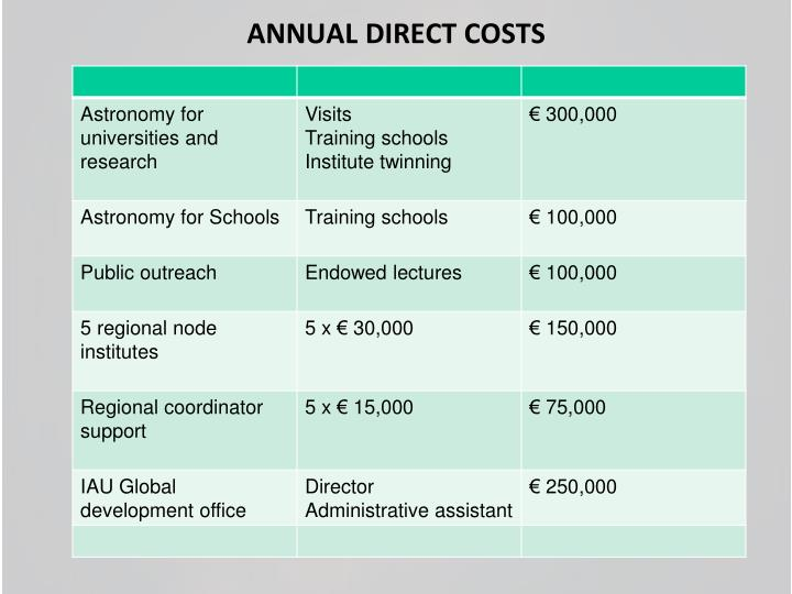 ANNUAL DIRECT COSTS