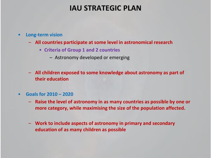 IAU STRATEGIC PLAN