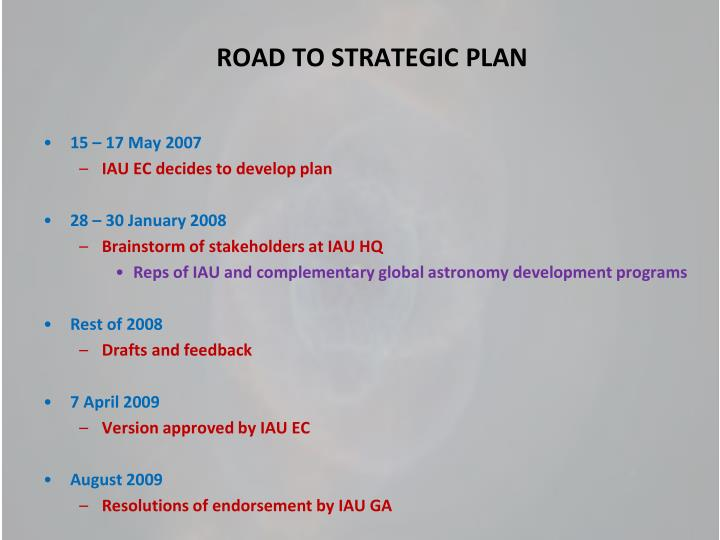 Road to strategic plan