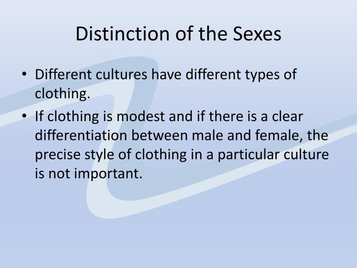 Distinction of the Sexes